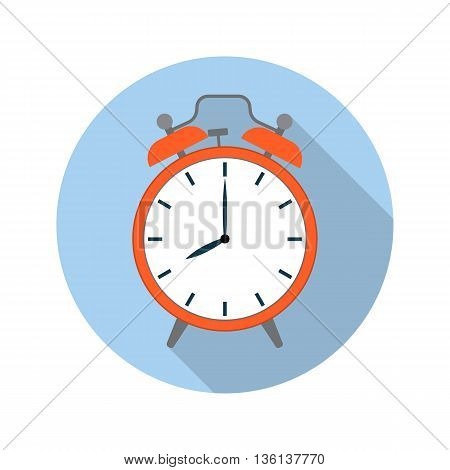 picture of red alarm clock, flat style vector illustration icon with long shadow