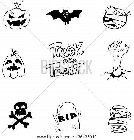Element doodle Halloween black white vector illustration