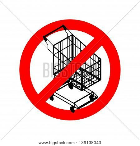 Stop Shopping Cart. Prohibited Shopping Trolley. Strikethrough Supermarket Buying. Emblem Against Bu