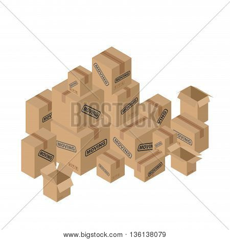 Moving Many Of Cardboard Boxes. Paper Packaging For Things.