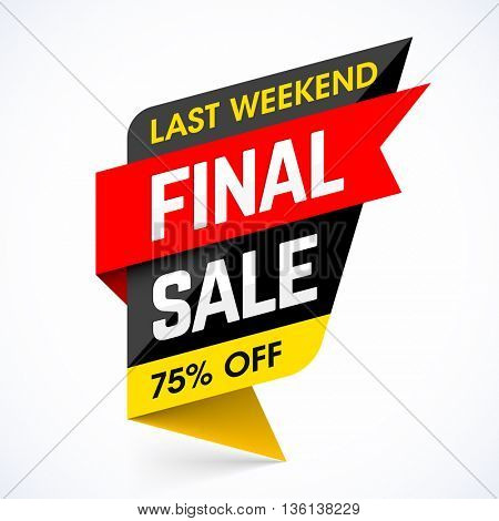 Last Weekend Final Sale banner. Discounts, save 75%.