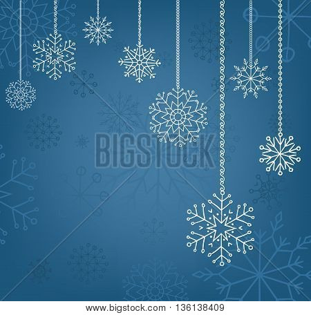 Snowflakes background, christmas and new year decoration for your design.