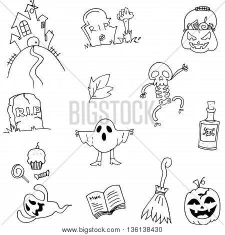 Doodle flat Halloween hand draw vector art