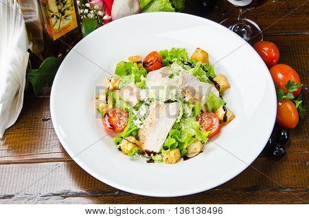 Fresh salad served in a restaurant Ceaser