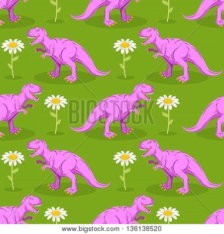 Dinosaur And Flower Seamless Pattern. Pink Tyrannosaurus And Camomile Texture. Prehistoric Predator