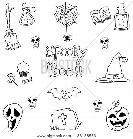 Pumpkins hat skull broom halloween element in doodle illustration