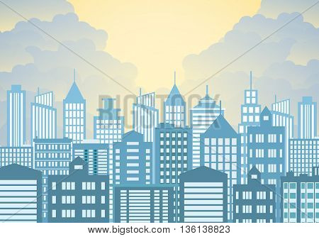 Morning city skyline. Buildings silhouette with windows cityscape. Big city streets. sky with sun and clouds. Vector illustration