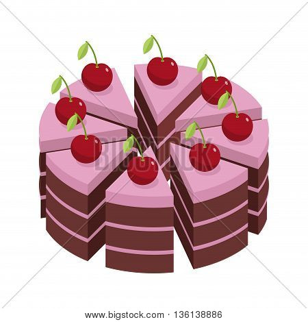 Cherry Cake. Pieces Of Holiday Cake. Birthday Dessert With Cherries. Sweets Cakes Chocolate Biscuit
