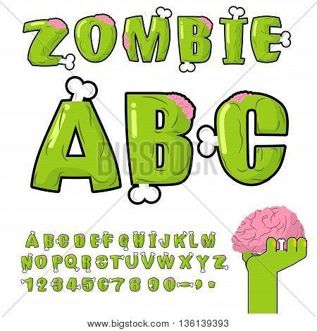 Zombie Abc. Bones And Brains. Horror Monstr Font. Living Dead Alphabet. Green Terrible Letter. Sinis
