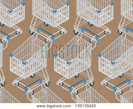 Shopping Cart Seamless Pattern. Supermarket Shopping Trolley Background
