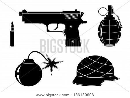 set icons of weapons. Icon weapon , gun, bullet, helmet, bomb and grenade