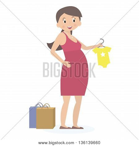 Pregnant woman on shopping. Expectation concept. Flat style. Vector Illustration