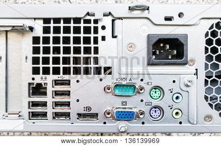 Personal computer inputs. Electronics theme. Information technology. Input plugs.