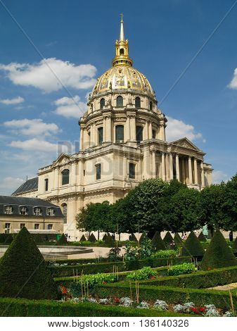 Paris, France - July 11, 2011: Cathedral of  Les Invalides  in sunny summer day in Paris. Les Invalides - complex of museums and monuments in Paris. Cathedral is the burial place  of Napoleon Bonaparte and military memorial.