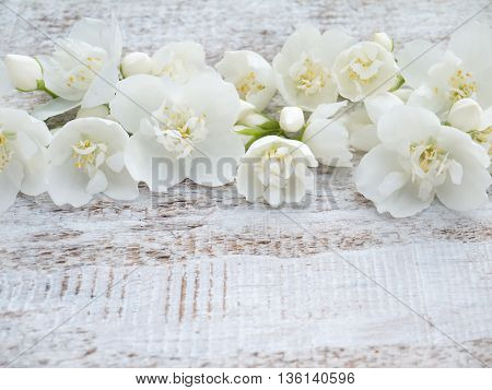 English dogwood tender white flowers on the rustic rough painted background
