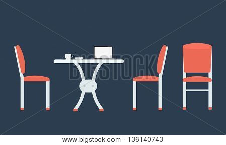 Table with chairs icon. Chairs with front and side view. Cup of coffe and notebook on table. Illustrated vector with flat color style. Isolated with solid color background.