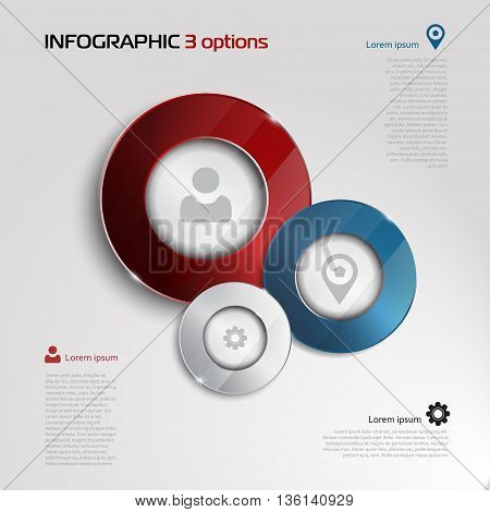 Vector circle elements for infographic. Template for presentation, diagram, graph. Business concept with 3 options, parts, steps or processes. Abstract 3D digital illustration Infographic. silver, blue and red elements on whithe background