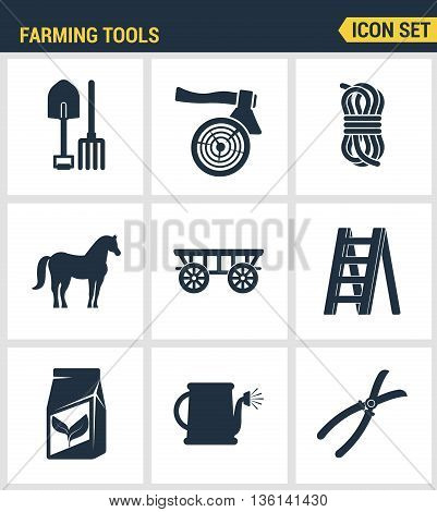 Icons set premium quality of farming tools instrument farm equipment agricultural. Modern pictogram collection flat design style symbol collection. Isolated white background.
