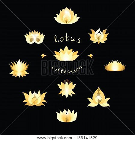 Shining golden Lotuses collection. Gold lotus icon different variations. Trendy glitter lotus isolated design element. Vector illustration.