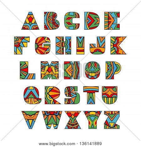 Ornate Letters. ABC letters brigh ethnic pattern. Rich ornate alphabet. Aztec style. Fancy multicolored font. Vector collection.