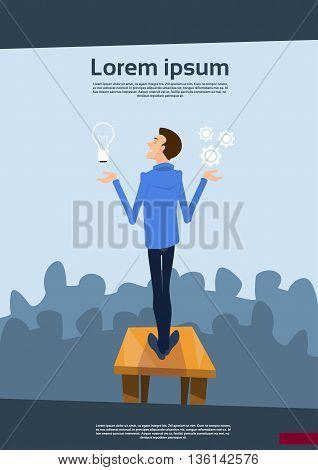 Business Man Speaker Hold Light Bulb New Idea Success Concept Flat Vector Illustration