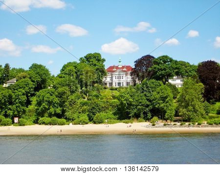 Hamburg Germany - May 24 2008: Hamburg district Blankenese view from river Elbe