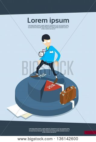 Business Man On Pie Diagram Financial Success Concept Flat Vector Illustration