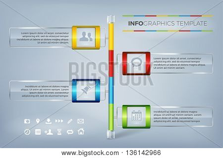 Modern infographics timeline template. Info graphic glass frames for text and icons. Infographics shiny glossy background with sample text and set of icons. Vector illustration.