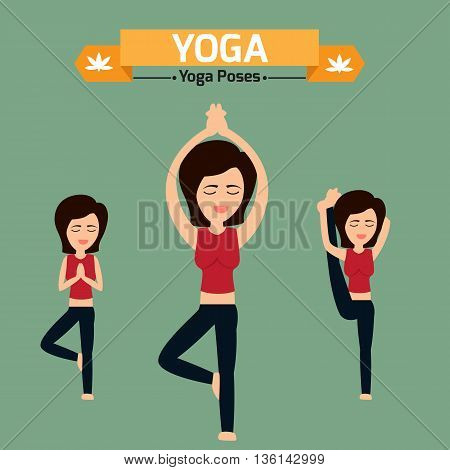 Yoga poses infographic elements. women practice exercise yoga for health. vector illustration.