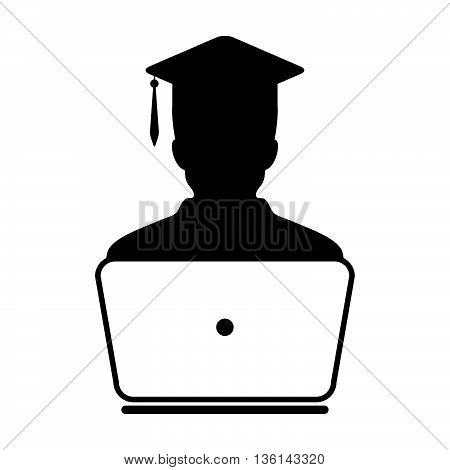 Student Icon with laptop computer - Online Graduation, Academic, Education, Degree icon in glyph vector illustration