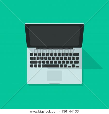 Laptop vector isolated on green background, flat cartoon open laptop illustration with shadow