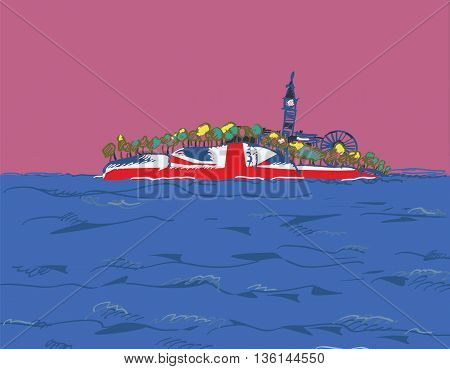 Illustration of the UK drawn as a floating island or ship silhouette