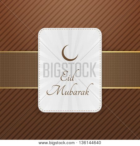 Eid Mubarak decorative Emblem with Ribbon. Vector Illustration