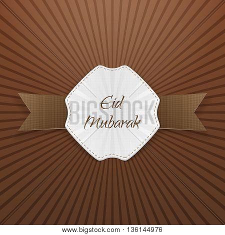 Eid Mubarak greeting paper Tag. Vector Illustration
