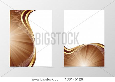 Flyer template vortex design. Abstract flyer template in coffee with milk colors with gold lines. Swirl wave spectrum flyer design. Vector illustration