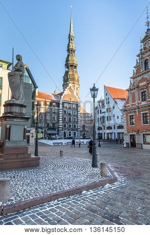 RIGA, LATVIA - DECEMBER 30 2015: City Hall square at Christmas Holidays