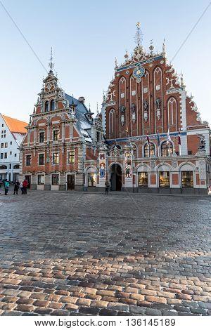 RIGA, LATVIA - DECEMBER 30 2015: House of the Blackheads on City Hall square