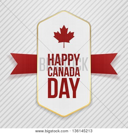 Happy Canada Day greeting Tag. Vector Illustration