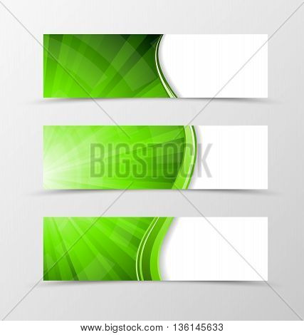 Set of banner wave design. Bright banner for header with green lines. Design of banner in digital vortex spectrum style. Vector illustration