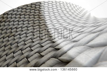 A 3D render of a microscopic view of a simple woven textile split into a dirty grubby half and a clean white comparison poster