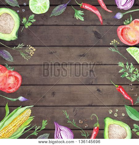 Wood table background with hand painted Vegetable border frame for kitchen and reataurant design