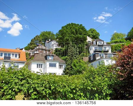 Hamburg Germany - May 24 2008: Hamburg district Blankenese the exclusive residential area and suburb of the city. Luxury houses in the hills near the Elbe riversides.