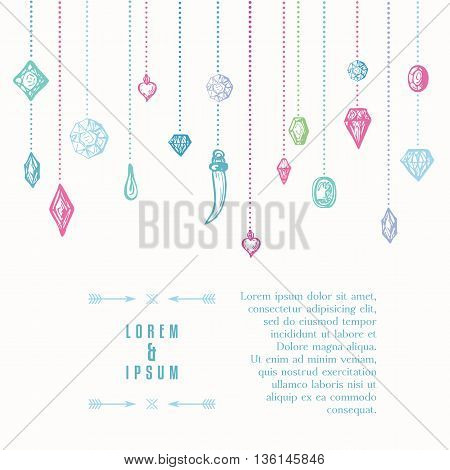 Background with hanging diamonds. Multicolored hand drawn elements. Diamond cutting samples. Abstract background with gems. Vector illustration.