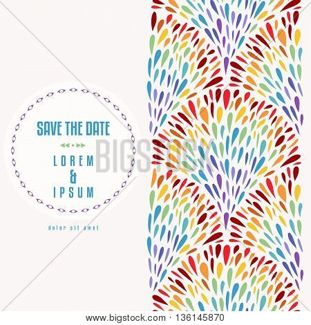 Repeat background with rainbow fountains pattern. Abstract design hand drawn colorful drops elements. Vertical seamless pattern. Card or flyer template. Copy space. Vector illustration.