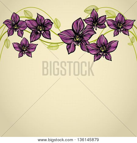 Orchid border. Hand drawn flowers. Decorative background with flowers and leaves. Card or flyer template. Copy space. Vector illustration.
