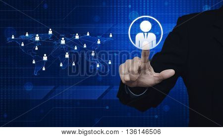 Hand click businessman icon with light blue world map connection on digital world map Elements of this image furnished by NASA