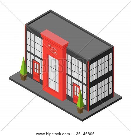 Isometric city building of business center or mall. Three dimensional town constraction. Small business office. Infographic design element. Vector isolated illustration.