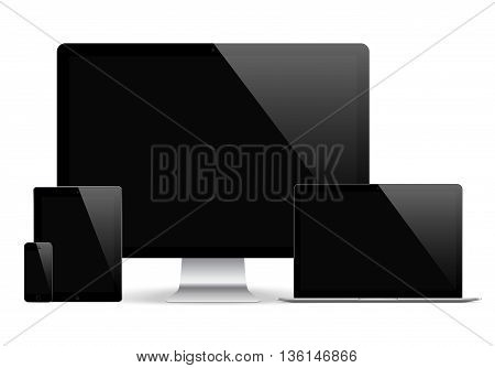 mockup gadget and device black color with blank touch screen isolated on the grey background. stock vector illustration eps10