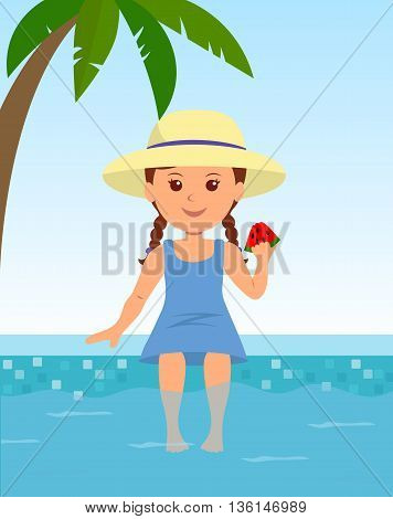Cute girl in a hat sitting by the pool. Child sitting by the pool sunbathing and enjoying the watermelon. Childhood and summer vacation.