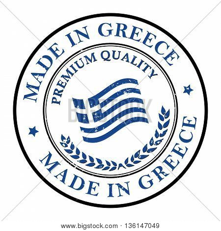 Made in Greece, Premium Quality - stamp with the flag of Greece. Print colors used